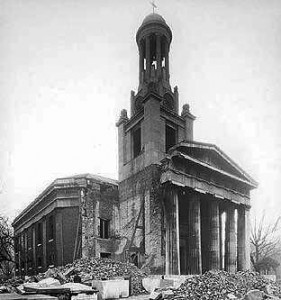 St Mark's Church after bombing in the Second World War