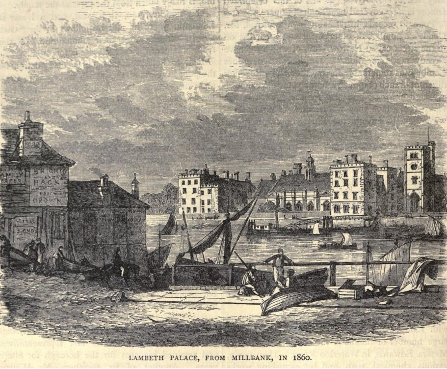 Lambeth Palace from Millbank, 1860
