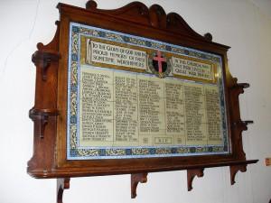 Memorial panel inside St Andrew's Church, Stockwell