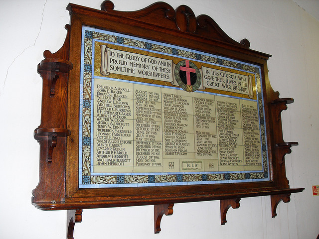 Memorial panel inside St Andrew's Church, Stockwell