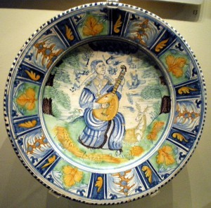 English delftware dish, 1638, probably by Richard Irons, Southwark, London (Victoria and Albert Museum)