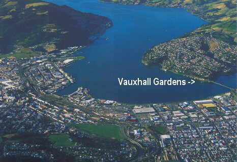Aerial shot of Vauxhall Gardens, Dunedin, New Zealand