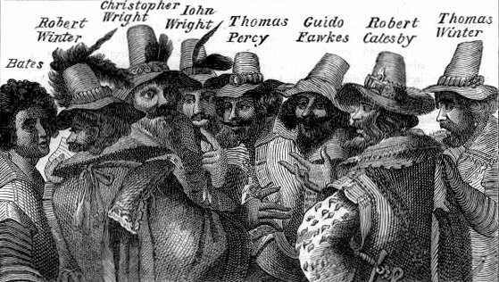 Guy Fawkes and fellow conspirators of the Gunpowder Plot of 1604