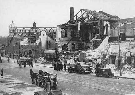 Lambeth Baths, London, after bomb damage