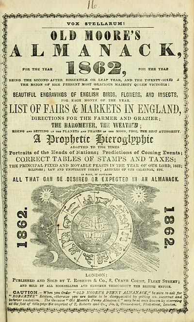 Old Moore's Almanac, 1862