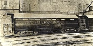 Original City & South London Railway 'padded cell' carriage at Stockwell Depot, 1920