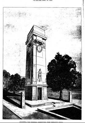 1920: The Builder published drawings of the proposed memorial at Stockwell