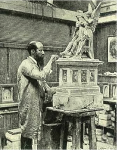 Fig. 3. George Tinworth working on the model of the statue of Henry Fawcett