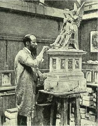 George Tinworth working on the model of the statue of Henry Fawcett