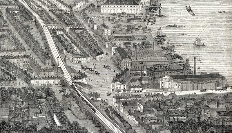 Fig 1: 'The West End Railway District, London from the London Illustrated News of 9 April 1859, showing Vauxhall Gardens in the lower left hand corner