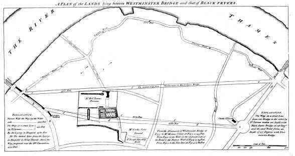 Plan of lands between Westminster and Blackfriars