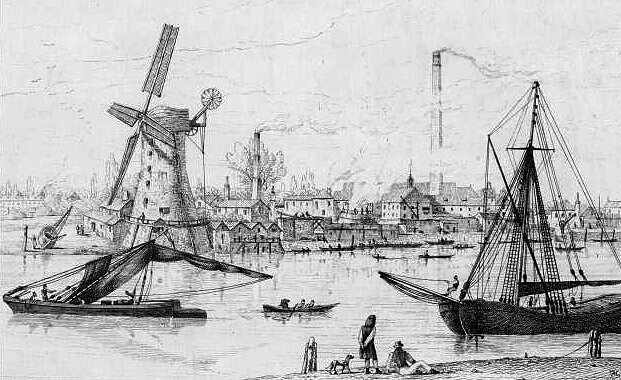 the thames near vauxhall historic view