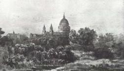 St Paul's from Lambeth Marsh, by Patrick Naysmith