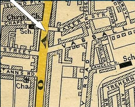 Map showing Baker Street, parallel to Vassall Road