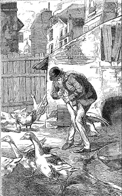 illustration of the blue carbuncle by conan doyle - man with geese
