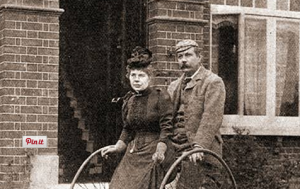 Dr and Mrs Conan Doyle set out on their tandem tricycle
