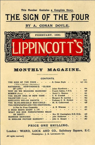 cover of lippincott's monthly magazine including the sign of the four