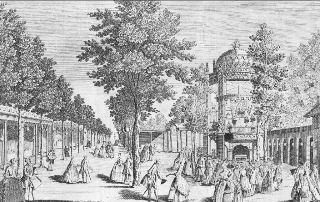 A Perspective view of the Grand Walk in Vauxhall Gardens, and the Orchestra, 1765 (image by courtesy of David Coke)
