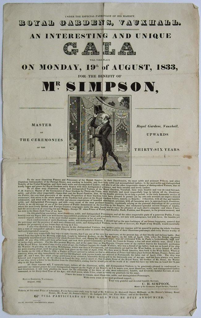 Handbill for C. H. Simpson's benefit at Vauxhall Gardens