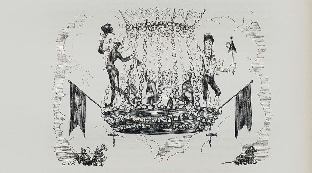 Cartoon from George Cruikshank's Omnibus showing Simpson and a lamplighter