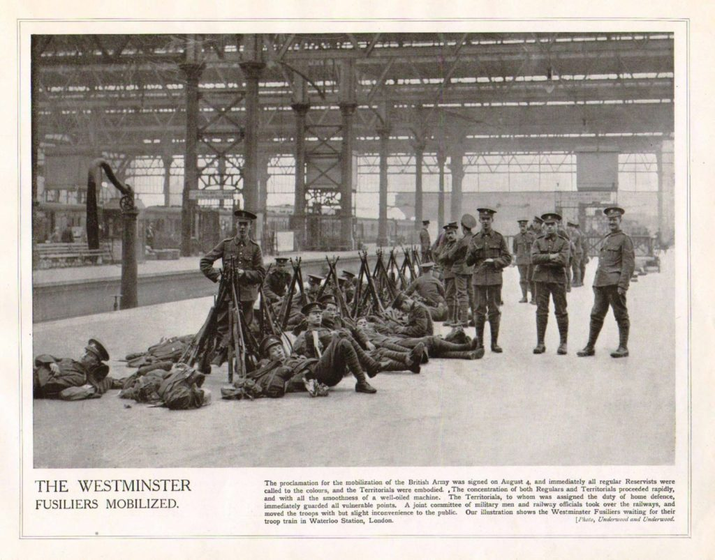 Royal Fusiliers preparing to depart from Waterloo Station