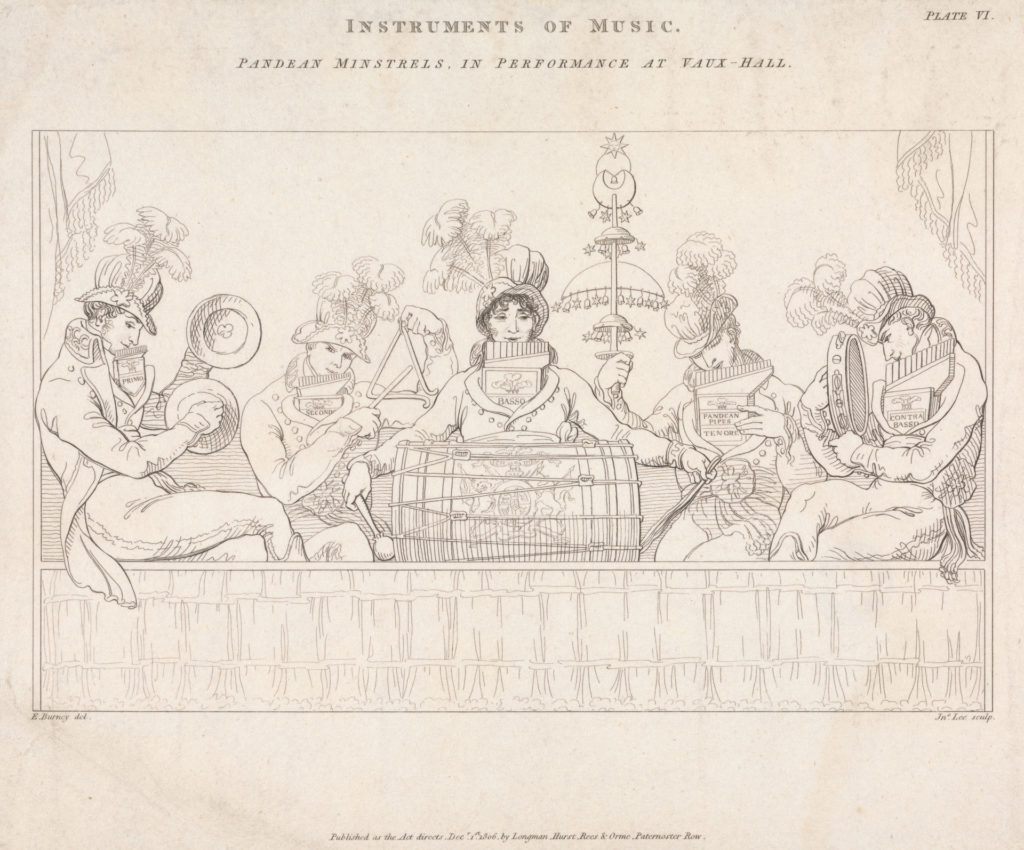 drawing of musicians at vauxhall gardens