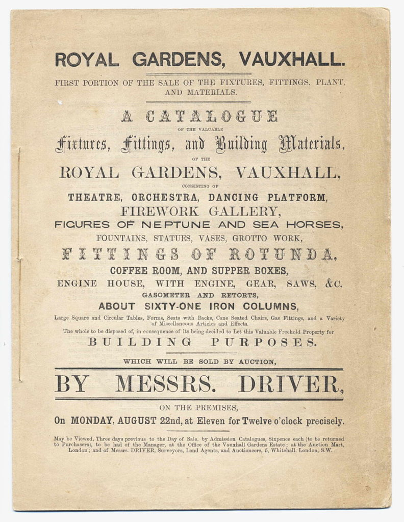 cover of 1859 sale catalogue for fixtures and fittings etc at Vauxhall Gardens