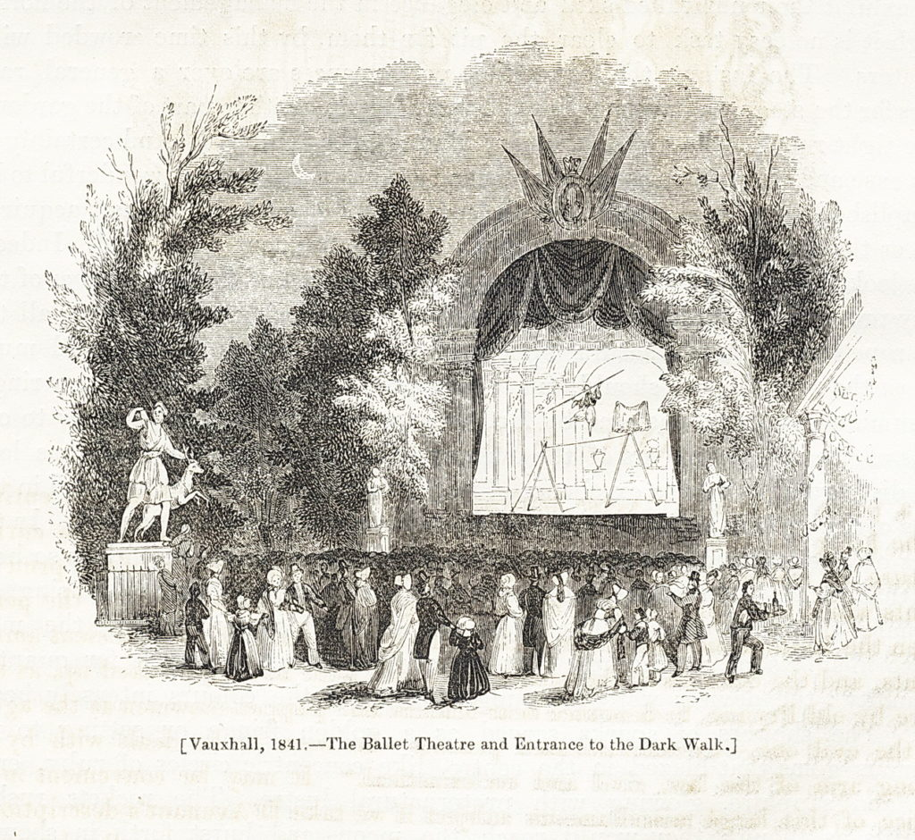 Old print of the ballet theatre at vauxhall gardens
