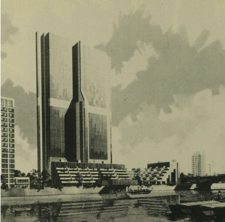 architect's image of never built green giant at nine elms