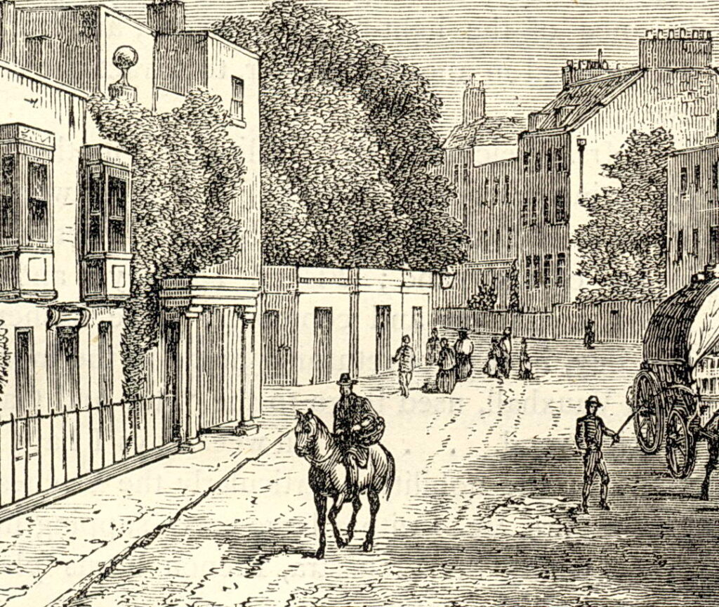 19th century wood engraving showing man on horseback, a cart of hay, pedestrians, building and a roadway.