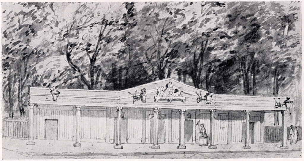 black and white watercolour of a long building with columns and a pediment.