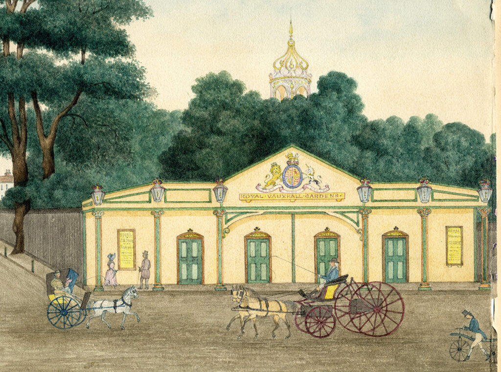 old colour watercolour picture of the coach entrance of vauxhall gardens showing horses and carriages in the roadway
