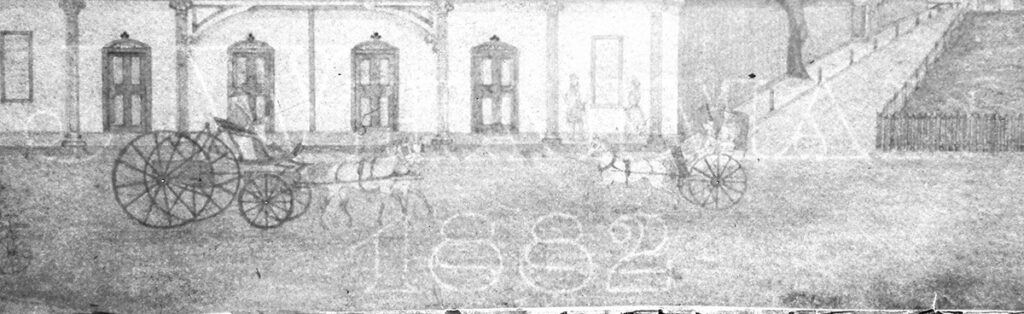 The watermark of an old watercolour painting showing the date 1882 and J. Whatman
