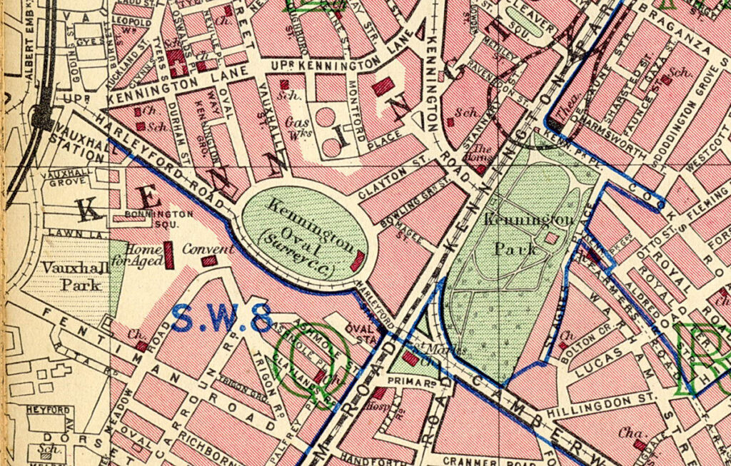 Map of the area around the Oval cricket ground in Kennington